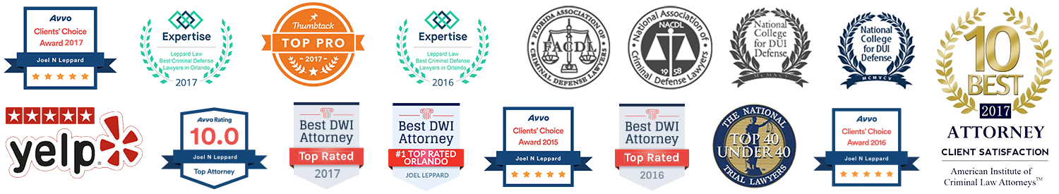 Joel Leppard of Leppard Law, Avvo Clients Choice Award, Best of Yelp, Top Pro, Best DWI Attorney, Clients Choice Award, 10 Best Attorney, National College for DUI Defense